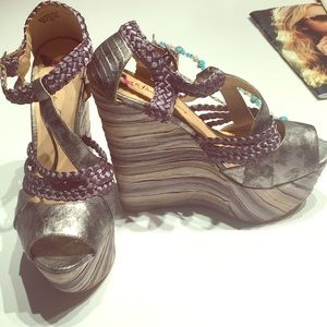 Penny loves Kenny Silver High Wedge Heel Sandals 9